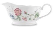 Lenox Butterfly Meadow Bone Porcelain Gravy Boat with Stand