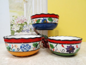 Viva Collection Hand-Painted Ceramic 3pc Serving Bowls Set, 89569 by ACK