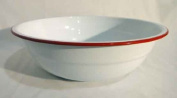 Enamelware 36cm Timpano Basin, Vintage White with Red Rim