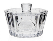 Reeses Crystal Candy Dish with Lid and Frosted Logo Heirloom-Quality Bowl