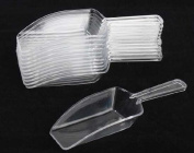 Package of 12 Clear Hard Plastic Candy Scoops for Candy Buffets, Parties, and Decorating