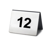 New Star Stainless Steel Tent Style Table Number Card, 5.1cm by 3.8cm , Numbers 1 to 25
