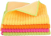 Ritz Microfiber 30cm by 30cm Dish Cloth with Poly Scour Side, AssortedPink/Yellow/Orange/Green, 4-Pack