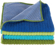 Ritz Microfiber 30cm by 30cm Dish Cloth with Poly Scour Side, Assorted Blue/Green, 4-Pack