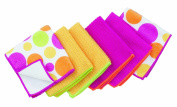 Ritz Microfiber 30cm by 30cm 2 Polka Dot and 4 Solid Towels, Pink/Yellow/Orange/Green, 6-Pack