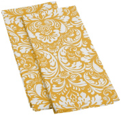 DII Cotton Damask Kitchen Dish Towels, 70cm x 46cm Set of 2, Low Lint Decorative Tea Towel for Everyday Cooking and Baking-Mustard