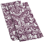 DII Cotton Damask Kitchen Dish Towels, 70cm x 46cm Set of 2, Low Lint Decorative Tea Towel for Everyday Cooking and Baking-Eggplant