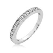 Sterling Silver Half Eternity Ring Round Cubic Zirconia CZ Eternity Ring - Nickel Free Engagement Wedding Eternity Ring