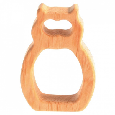Grimm's Natural Wood European Baby Teether Grasping Toy, Owl