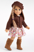 Urban Explorer - Brown Motorcycle Jacket with Paperboy Hat, Dress and Boots - 46cm American Girl Doll Clothes