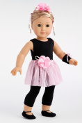 Show Time - Black unitard, pink tutu skirt, ballet slippers, corsage, hair piece and wristband - 46cm American Girl Doll Clothes