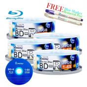 Smartbuy 100-disc 25GB 6x BD-R Blu-Ray Logo Top Blank Media Record Disc + Blue Marker + Ink Removal Pen