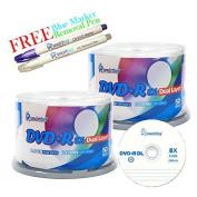 Smartbuy 100-disc 8.5GB/240min 8x DVD+R DL Logo Top Blank Media Record Disc + Blue Marker + Ink Removal Pen