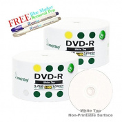 Smartbuy 100-disc 4.7GB/120min 16x DVD-R White Top Blank Media Record Disc + Blue Marker + Ink Removal Pen