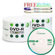 Smartbuy 100-disc 4.7GB/120min 16x DVD-R Logo Top Blank Media Record Disc + Blue Marker + Ink Removal Pen