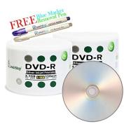 Smartbuy 100-disc 4.7GB/120min 16x DVD-R Silver Inkjet Hub Printable Blank Media Disc + Blue Marker + Ink Removal Pen