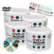 Smartbuy 200-disc 4.7GB/120min 16x DVD-R Shiny Silver Blank Media Record Disc + Blue Marker + Ink Removal Pen