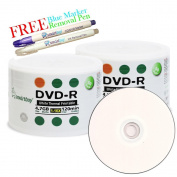 Smartbuy 100-disc 4.7GB/120min 16x DVD-R White Thermal Hub Printable Blank Media Disc + Blue Marker + Ink Removal Pen