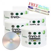 Smartbuy 200-disc 4.7GB/120min 16x DVD-R Silver Inkjet Hub Printable Blank Media Disc + Blue Marker + Ink Removal Pen