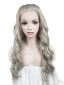 Lolita Fashion Wig Grey Wavy 150 Density Synthetic Lace Front Wig