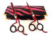 Professional Hairdressing Scissors & Thinner Hair Cutting Shears Barber Salon Styling Scissors Set 14cm Japanese Steel with Case Razor Edged Pink Zebra