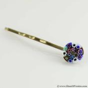 Murano Glass Millefiori Hair Pin - Round Multicolor