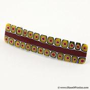 Murano Glass Millefiori Hair Clip - Maroon and Yellow