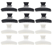 12 Black & White Butterfly Style Styling Hair Clips Clasps Clamps By VAGA®