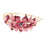 New pink Crystal Rhinestone gold tone metal big Flower design Headband #1212