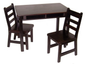 Lipper International Child's Rectangular Table With Shelves And Two Chairs - Espresso