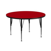 110cm Round Activity Table with Red Thermal Fused Laminate Top and Height Adjustable Pre-School Legs
