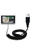Gomadic USB Charging Data Coiled Cable for the Garmin nuvi 2557 / 2577 / 2597 LMT Will charge and data sync with one unique TipExchange enabled cable