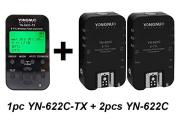 EboxDeal Yongnuo 1 x YN-622C-TX + 2 x YN-622C RX E-TTL LCD Wireless Flash Controller Wireless Flash Trigger Transceiver For Canon EOS DSLR