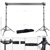 Linco 3m Triple Crossbar Background Support Stand Kit Photo Studio 2 Piece 2.7m Backdrop Stands and 3 Piece 3m Crossbar (4 Sections) with Triple Mount on Lincostore