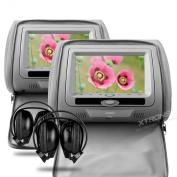XTRONS 2X Grey Headrest Car Multi-Media DVD Player USB SD Slot 18cm HD Screen Game Disc IR Headphones
