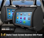 Xtrons Black 2x Twin Car Headrest DVD Player 23cm Touchscreen Game & Ir Headphone