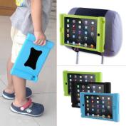 TFY Kids Car Headrest Mount Holder for iPad Mini & iPad Mini 2 - Detachable Lightweight Shockproof Anti-slip Soft Silicone Handle Case - Blue