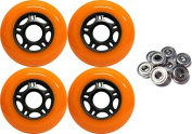 OUTDOOR Inline Skate Wheels 76MM 89a ORANGE x4 W/ ABEC 5 BEARINGS