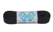 Solid Black 240cm Waxed Skate Lace - Derby Laces for Roller Derby, Hockey and Ice Skates, and Boots