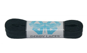 Solid Black 150cm Waxed Skate Lace - Derby Laces for Roller Derby, Hockey and Ice Skates, and Boots