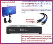 Mediasonic HW180STB HomeWorx HDTV Digital Converter Box with HDMI and USB playback + Digital Antenna + Premium HDMI Cable