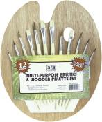 US Art Supply® 12 Piece Brush Set with 23cm x 30cm Wood Palette