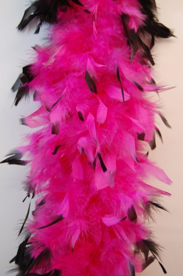 80 Gramme Chandelle Feather Boa 2 Yards - HOT PINK w/ BLACK Tips