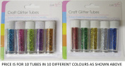 10 Craft Glitter Tubes In 10 Assorted Metallic Craft Colours