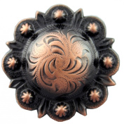 BS9163-2-Copper Copper plated 3.8cm Wide Engraved Berry Concho