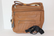 Light Brown Leather Concealed Carry Handbag Roma 7082
