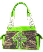 Western Soft Camo Print Rhinestone Cross Satchel Bag Shoulder Purse