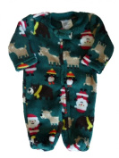 Little Wonders Infant Boys Plush Green 1st Christmas Outfit Santa Claus Sleeper