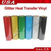6 Yards Glitter Heat Transfer Vinyl From 6 Colours for T-shirt Transfer Print