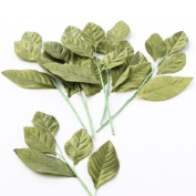 Package of 6 Satin Look Hand Wrapped Artificial Silk Rose Leaf Stems for Floral Arranging, Crafting and Embellishing